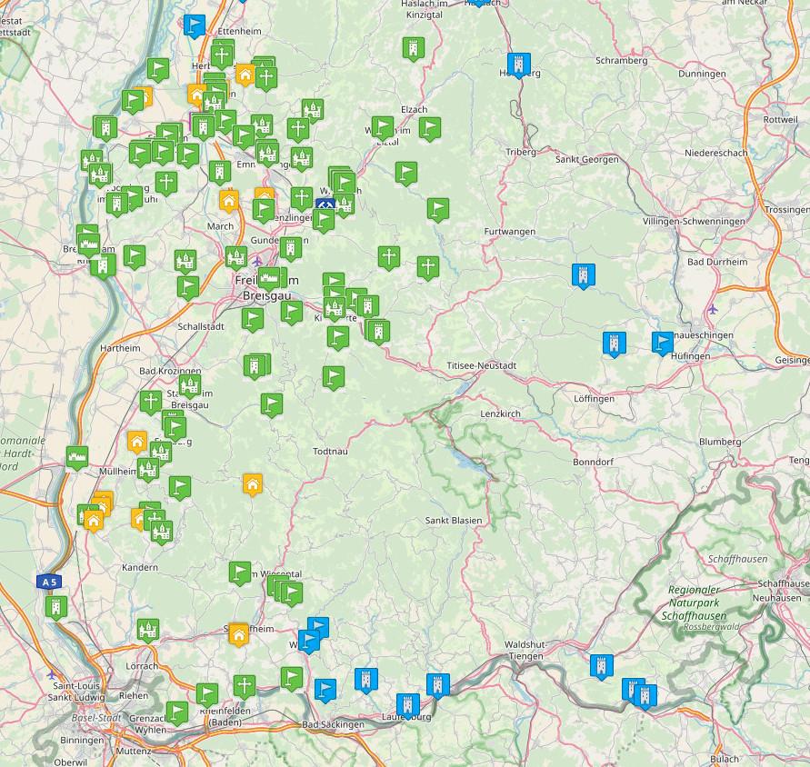 Burgenkarte mittelalterliches Breisgau