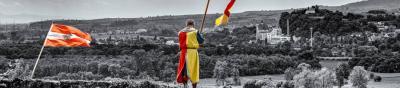 Badische Flaggenparade auf der Ruine Lichteneck