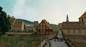 Vorstadt Freiburg-Neuburg um 1350 Closnergasse - van Akkeren