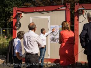 Denkmalreise Staatssekretärin Katrin Schütz in Freiburg-Neuburg am 9. Sept. 2016