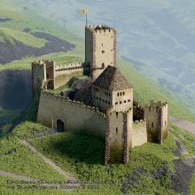 3D-Geländemodell Burg Freiburger Schlossberg van Akkeren_1080x1080p
